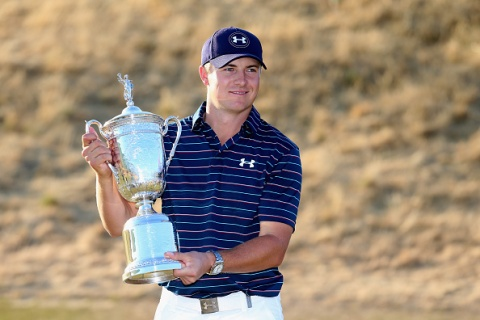 UNIVERSITY PLACE, WA - JUNE 21:  Jordan Spieth of the United States poses with the trophy for photographers after winning the 115th U.S. Open Championship at Chambers Bay on June 21, 2015 in University Place, Washington.  (Photo by Andrew Redington/Getty Images)